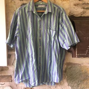 Geoffrey Beene Blue/Green Striped Shirt Men's Sz L
